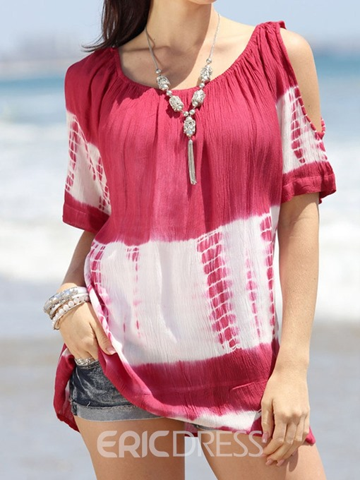 Ericdress Color Block Mid-Length Short Sleeve Casual T-Shirt
