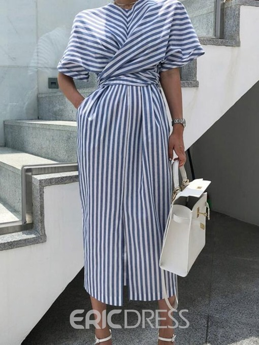 Ericdress Striped Round Neck Split Batwing Sleeve Straight Dress