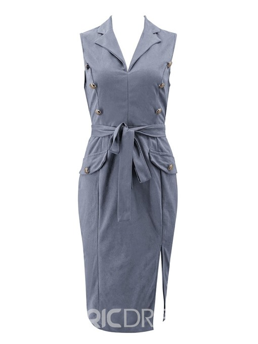 Ericdress Notched Lapel Split Sleeveless Pullover OL Mid Waist Dress