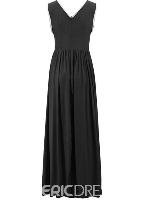 Ericdress Floor-Length Patchwork Round Neck Pullover A-Line Casual Dress