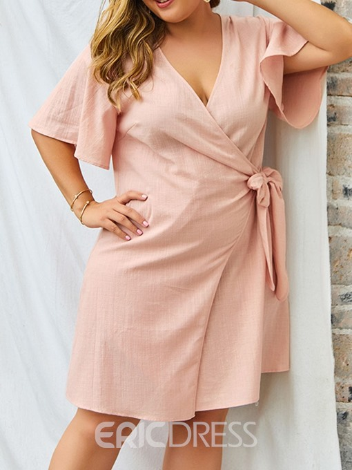 Ericdress Plus Size Casual Above Knee Half Sleeve V-Neck Dress