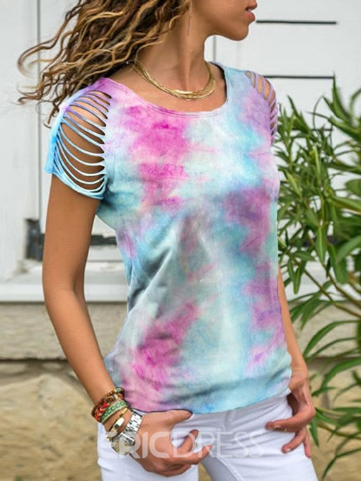 Ericdress Color Block Round Neck Hollow Casual T-Shirt