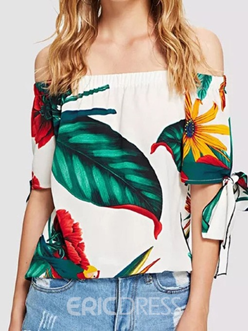 Ericdress Floral Off Shoulder Lace-Up Short Sleeve Sexy Blouse