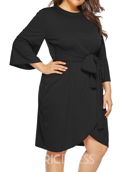 Ericdress Plus Size Knee-Length Lace-Up Three-Quarter Sleeve Regular Plain Dress