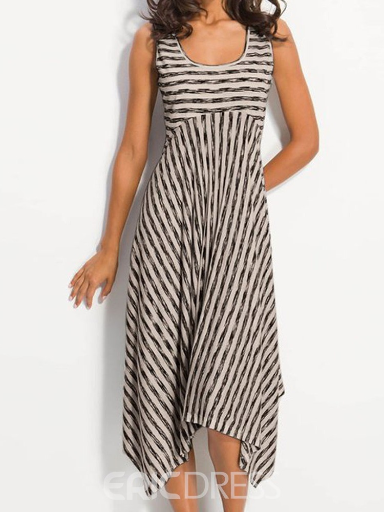 Ericdress Striped Sleeveless Scoop Asymmetrical High Waist Casual Dress