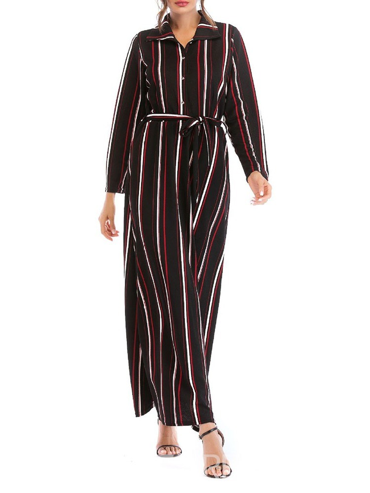 Ericdress Striped A-Line Nine Points Sleeve Mid-Calf Lapel Regular Dress