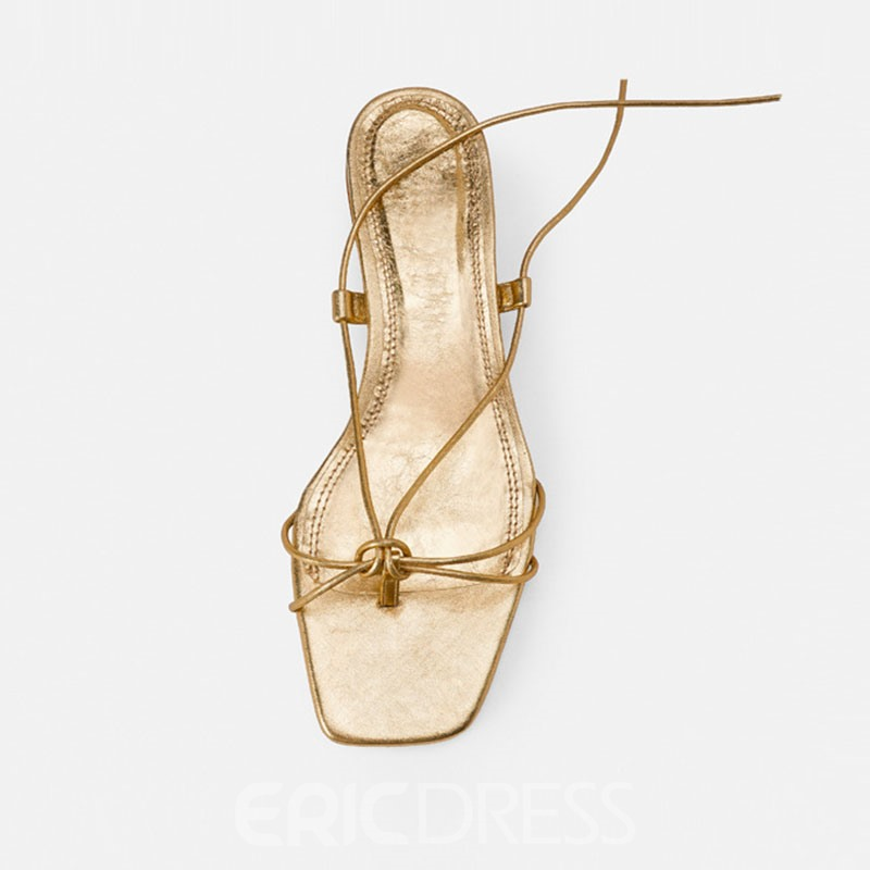 Ericdress Plain Toe Ring Chunky Heel Lace-Up Women's Sandals