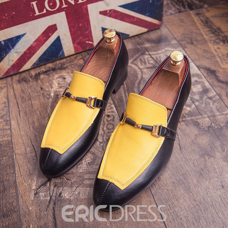 Ericdress Color Block Slip-On Pointed Toe Men's Oxfords