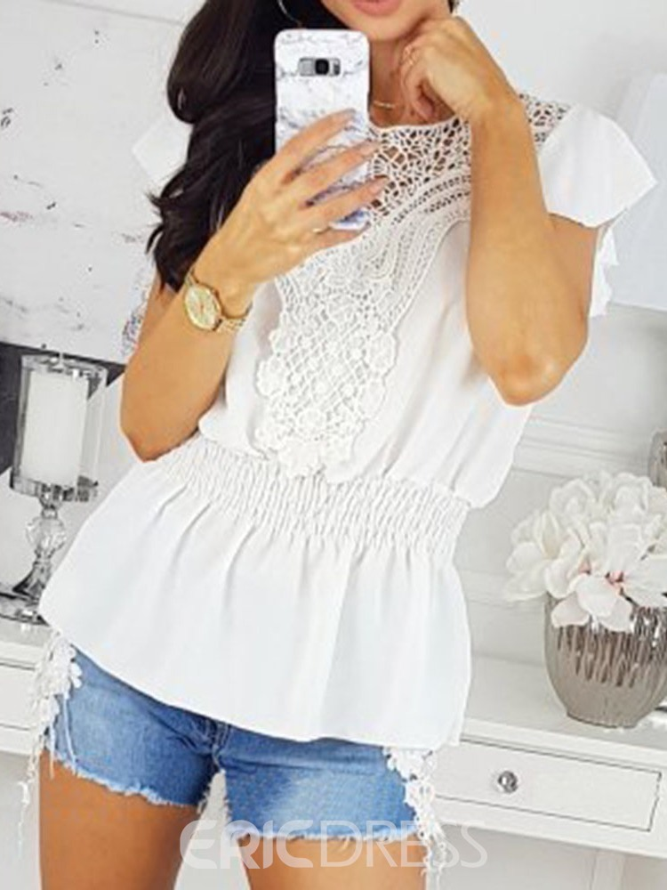 Ericdress Round Neck Patchwork Lace Short Sleeve Pleated Blouse