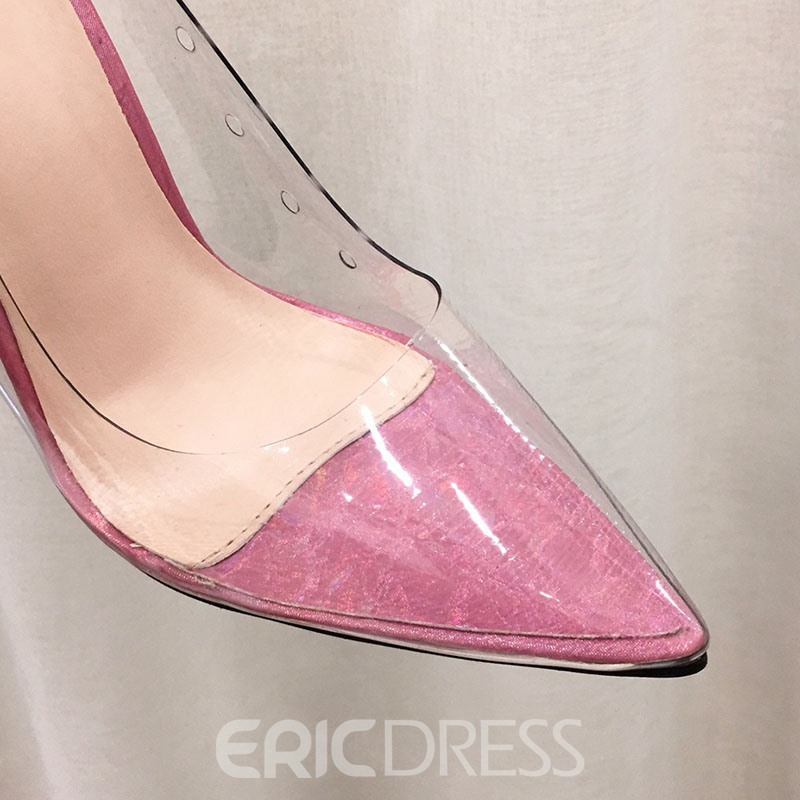 Ericdress Plain Pointed Toe Slip-On See-Through Women's Pumps