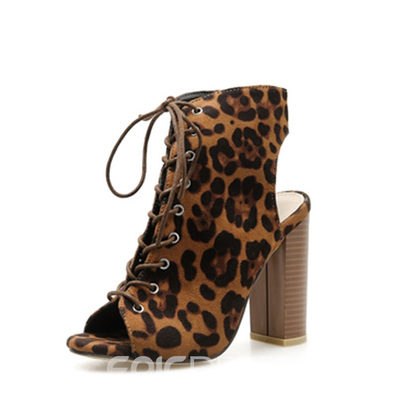 Ericdress Leopard Print Peep Toe Chunky Heel Lace-Up Women's Sandals