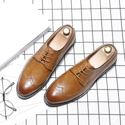 EricdressPlain Lace-Up Pointed Toe Mens Oxfords