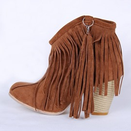 Ericdress Fringe Round Toe Chunky Heel Slip-On Women's Ankle Boots