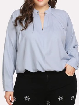 Ericdress Plus Size Plain Stand Collar Mid-Length Loose Blouse