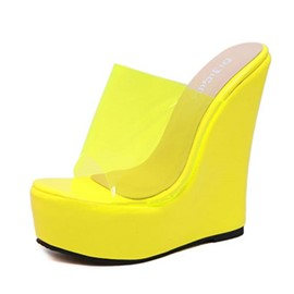Ericdress PVC Candy Color Wedge Heel Women's Sandals