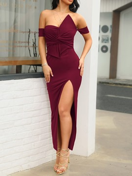 Ericdress Strapless Sexy Mid-Calf Pleated Mid Waist Plain Burgundy Dress