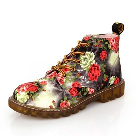 Ericdress Floral Round Toe Lace-Up Front Women's Flat Boots