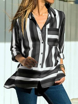 Ericdress Lapel Regular Stripe Button Long Sleeve Casual Blouse