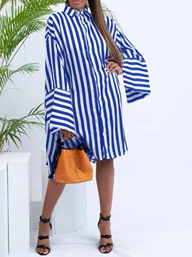 Ericdress Striped Polo Neck Knee-Length Long Sleeve Casual Dress