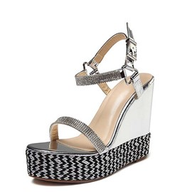 Ericdress Rhinestone Ankle Strap Wedge Heel Open Toe Women's Casual Sandals