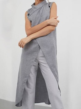 Ericdress Long Single-Breasted Button Sleeveless Fashion Trench Coat