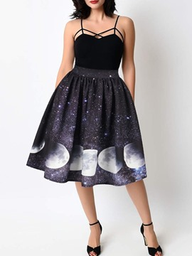Ericdress Print Mid-Calf Ball Gown High Waist Date Night Skirt