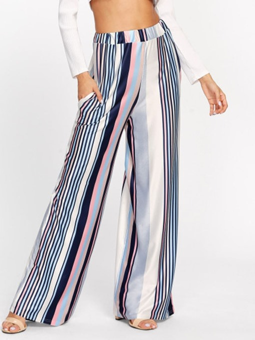 Ericdress Stripe Loose Print Mid Waist Straight Casual Pants