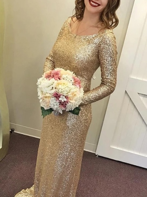 Ericdress Sequins Long Sleeves Bridesmaid Dress 2019