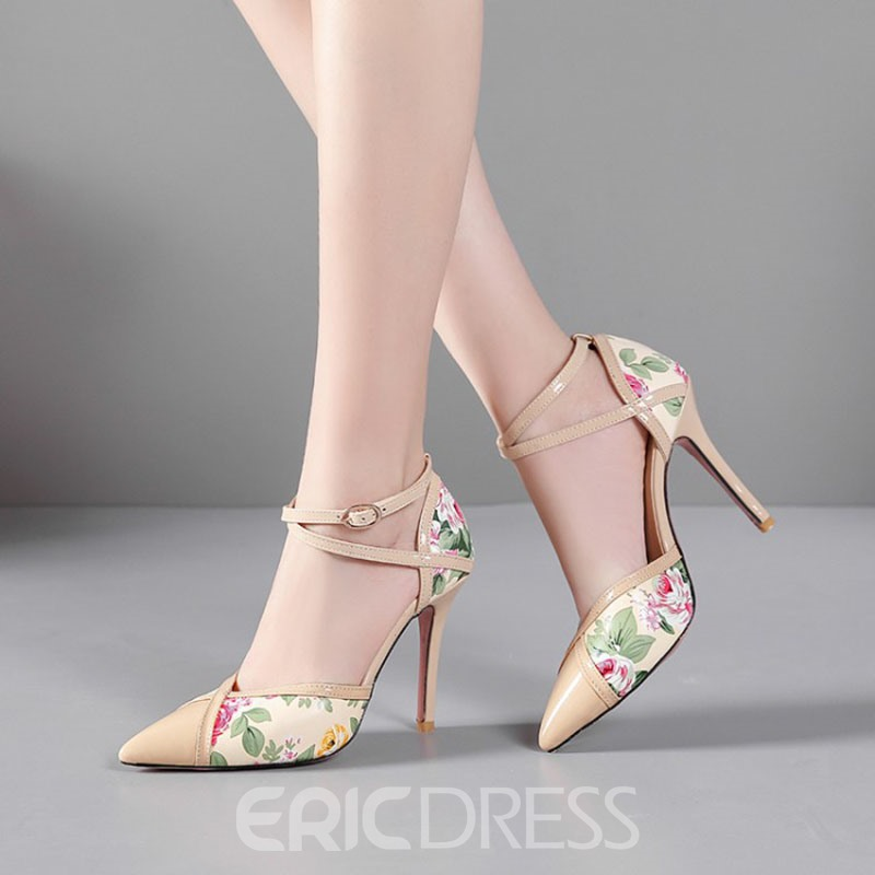 Ericdress PU Buckle Pointed Toe Color Block Women's Pumps