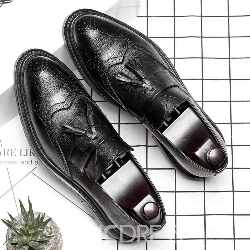 Ericdress Plain Pointed Toe Low-Cut Upper Slip-On Men's Oxfords