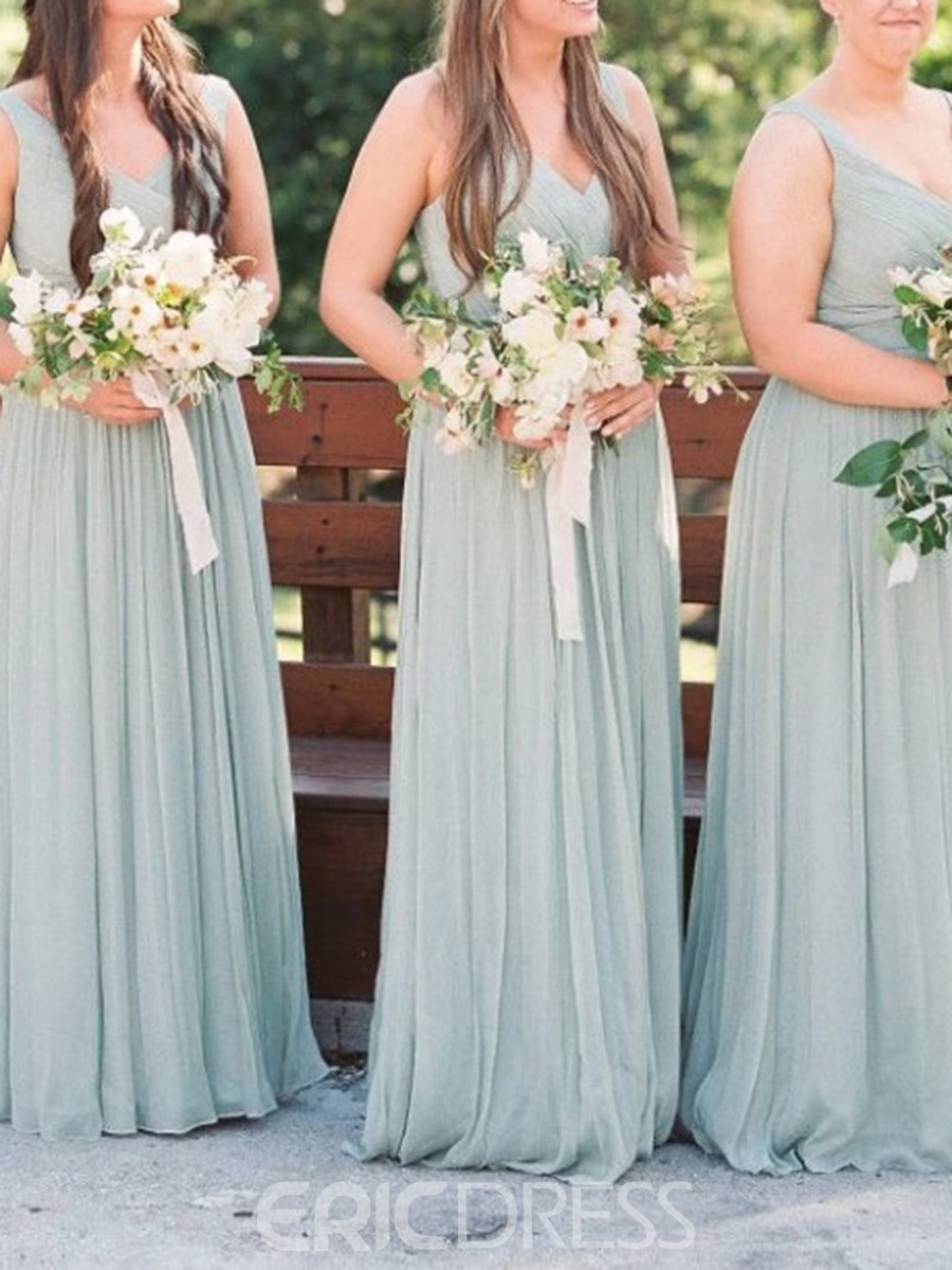Ericdress A-Line V-Neck Ruched Bridesmaid Dress 2019