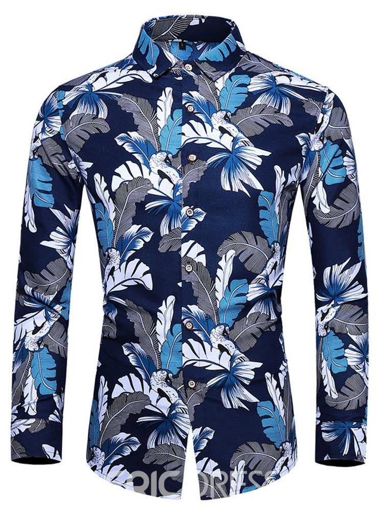 Ericdress Fashion Print Color Block Slim Men's Single-Breasted Shirt