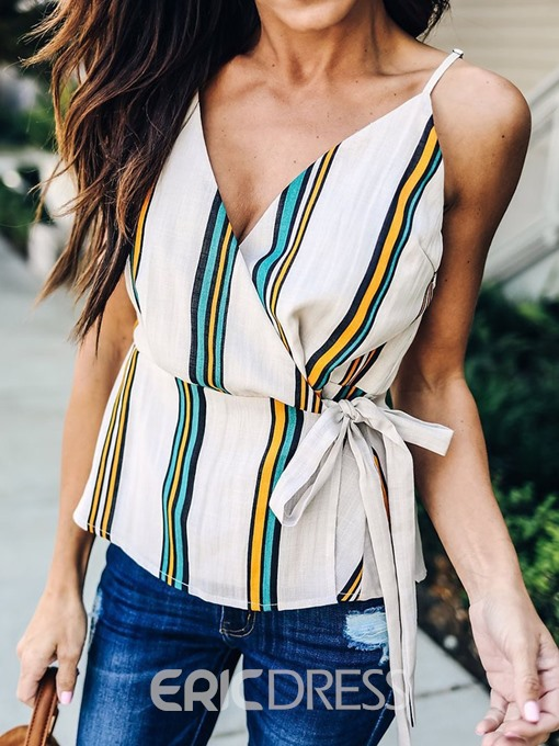 Ericdress Spaghetti Straps Stripe Lace-Up Casual Tank Top