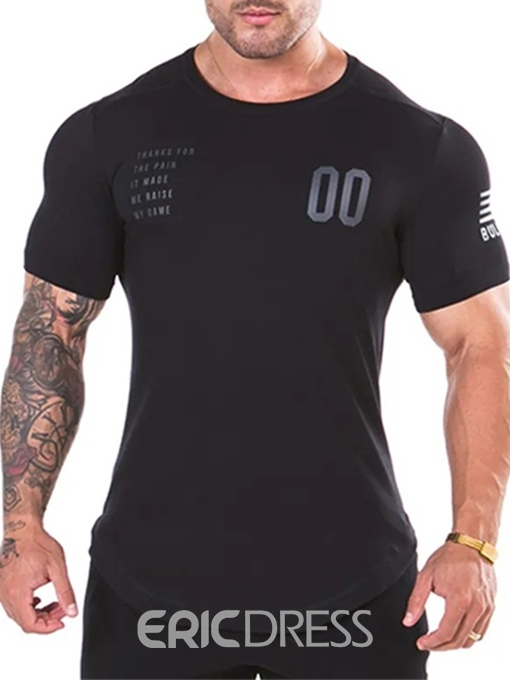 Ericdress Round Neck Letter Print Men's Slim T-shirt