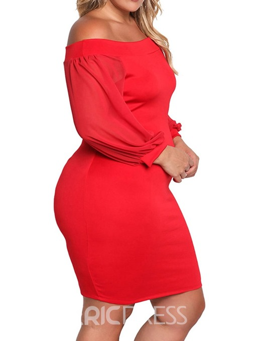 Ericdress Plus Size Off Shoulder Above Knee Lantern Sleeve Plain Bodycon Dress