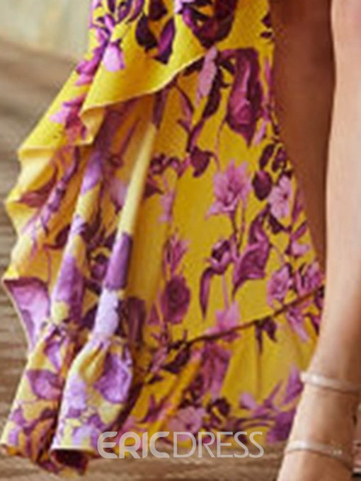 Ericdress V-Neck Floral Backless Asymmetrical Summer Dress