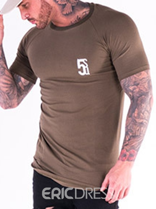 Ericdress Print Sports Round Neck Men's Slim T-shirt