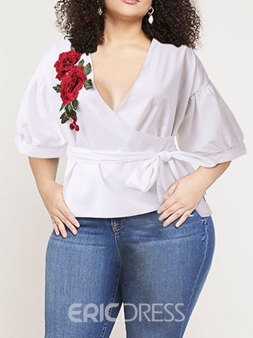 Ericdress Plus Size V-Neck Floral Bowknot Casual Blouse