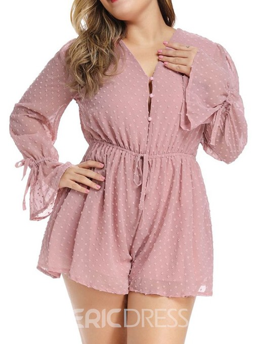 Ericdress Plus Size Date Night Lace-Up Shorts Wide Legs Loose Jumpsuit
