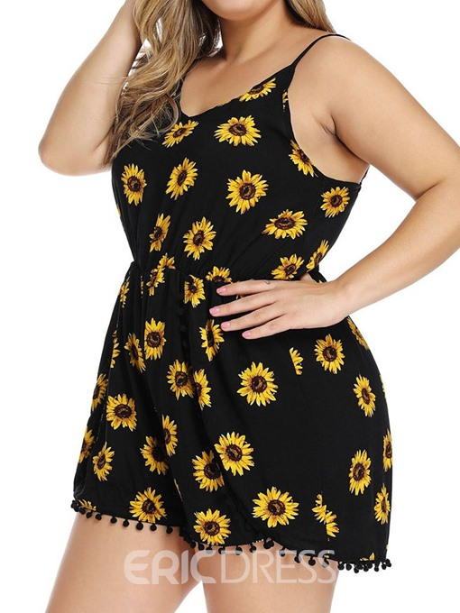Ericdress Plus Size Floral Strap Casual Loose High Waist Jumpsuit