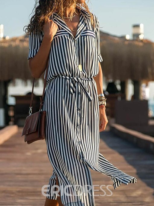 Ericdress Striped Polo Neck Long Sleeve Mid-Calf Mid Waist Casual Dress