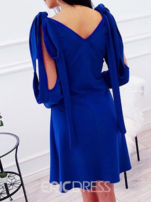 Ericdress Cold Shoulder A-Line V-Neck Above Knee Blue Dress