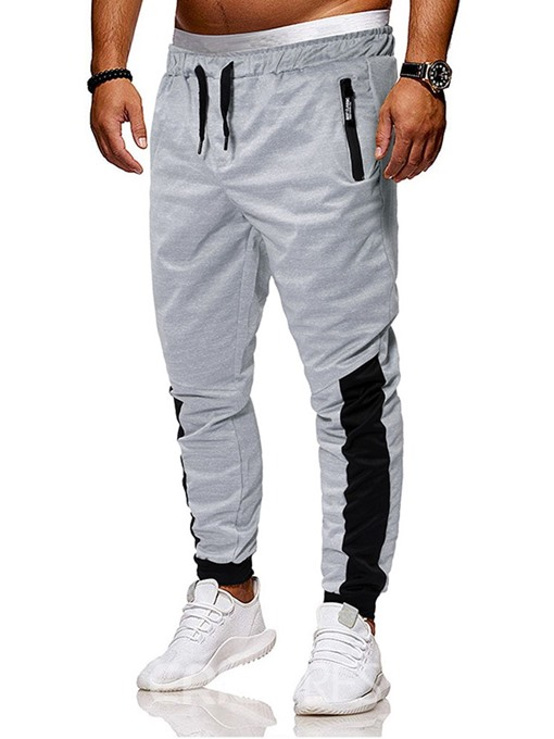 Ericdress Color Block Lace-Up Mid Waist Men's Casual Pants