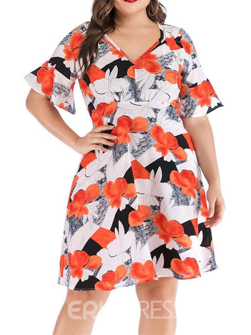 Ericdress Plus Size Flare Sleeve Print V-Neck A-Line Floral Dress