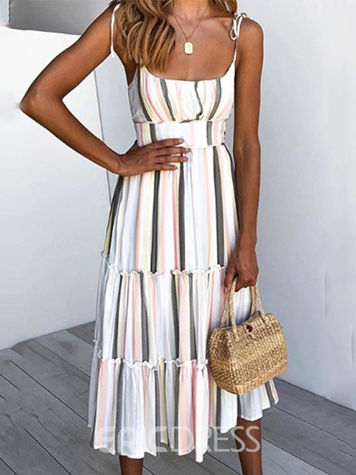 Ericdress Striped Mid-Calf Sleeveless Lace-Up High Waist A-Line Dress