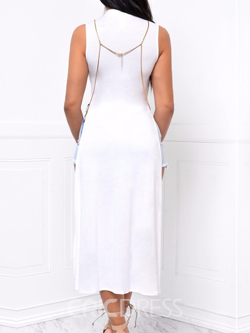 Ericdress Polyester Patchwork Mesh Long Fashion Tank Top