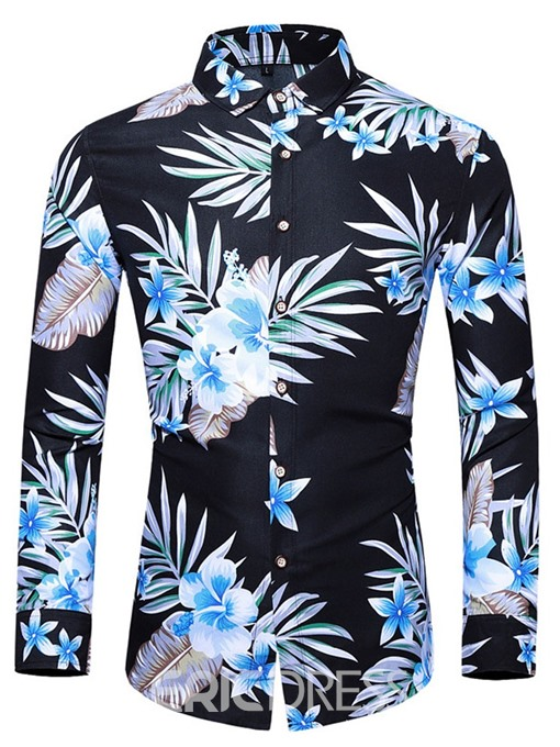 Ericdress Button Color Block Fashion Single-Breasted Men's Slim Shirt