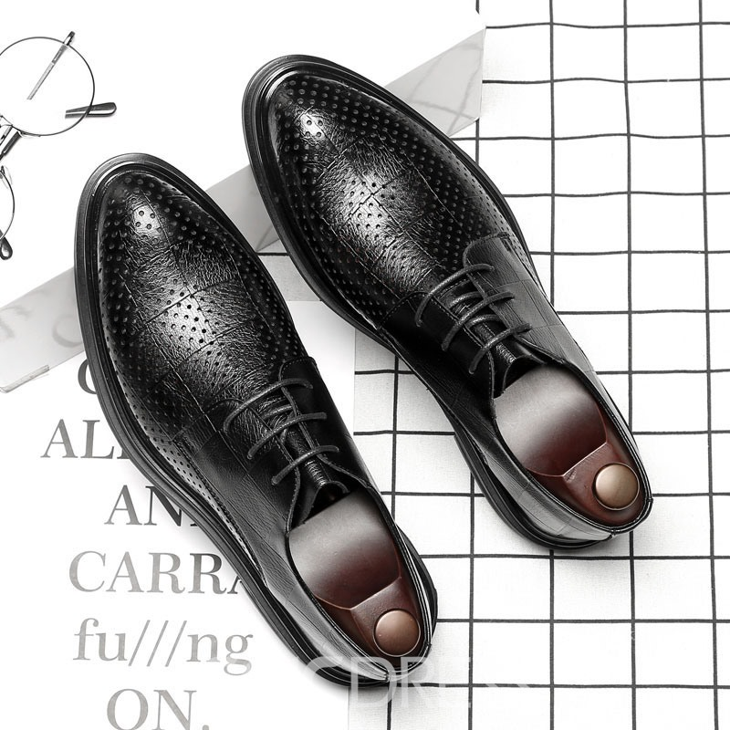 Ericdress PU Lace-Up Pointed Toe Block Heel Men's Dress Shoes
