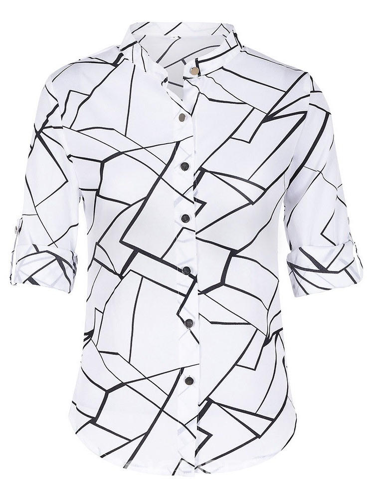 Ericdress Stand Collar Print Color Block Button Single Blouse
