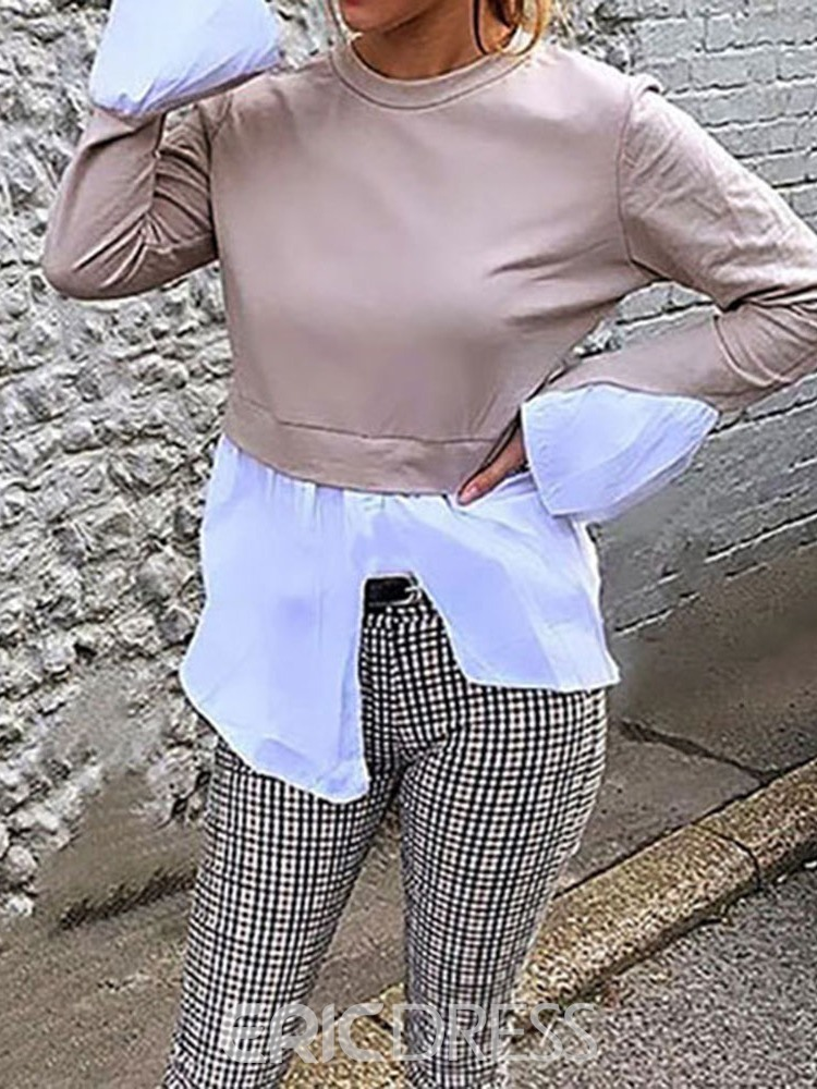 Ericdress Patchwork Round Neck Long Sleeve Casual T-Shirt